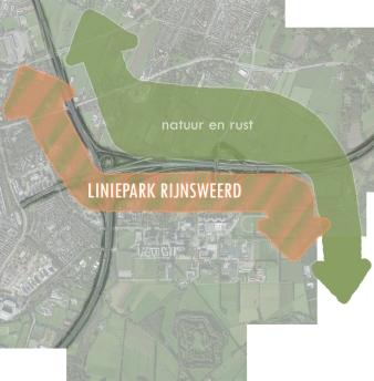 Het idee: Oranje pijl is natuur voor recreanten. Groene pijl is ecologische verbinding.